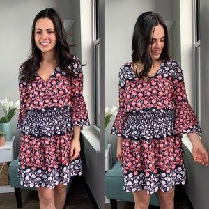 Eliza J Pink Floral Chiffon Bell-Sleeve Dress